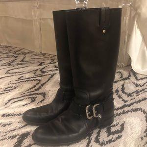 Christian Dior Black Leather Moto Biker Boots